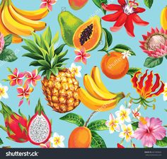 Hawaiian seamless pattern with tropical fruits and flowers. Vector illustration.