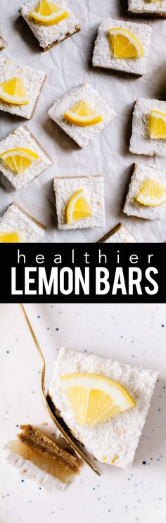 healthier lemon bars are no-bake, gluten-free, vegan, naturally-sweetened and fully delicious. Plus they're topped with a fluffy coconut cream layer! Healthy Dessert Recipes, Healthy Desserts, Just Desserts, Whole Food Recipes, Paleo Recipes, Healthy Food Choices, Healthy Sweets, Healthy Baking, Yummy Treats