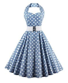 Buy ZAFUL Women's 50s Vintage Polka Dots Halter Swing Dress Party Gown with Belt - Topvintagestyle.com ✓ FREE DELIVERY possible on eligible purchases