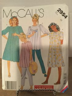 d3bcb7128c418 Vintage McCall's #2954 ©1987 Uncut Today's Mother Maternity Dress or Top  and Pants Size 16; Vintage Everyday Clothing