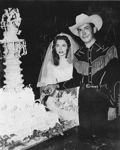 nudietherodeotailor:    Hank in his wedding suit I made. Billie Jean is a lovely lady that went on to marry another legend Johnny Horton. Sadly, he died soon afterwards as well. Rough breaks.