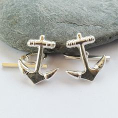 Handmade Silver Anchor Cufflinks Nautical Themed Gift by Silverre