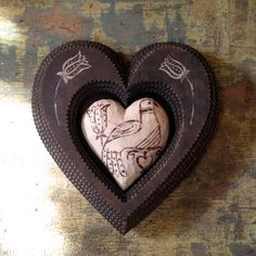 """Dove Heart Holder"" Tramp Art Heart inspired by the carved and painted Dove Heart made by Marlene Dubber. (Front)"