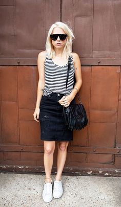 Striped t shirt and denim skirt