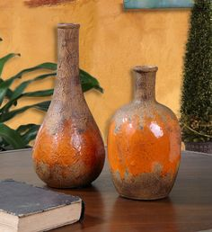 Uttermost Orange Kadam Orange Ceramic Vases - Set Of 2 Orange 19825 From Kadam Collection Tuscan Design, Tuscan Style, Italian Pottery, Tuscan House, Mediterranean Home Decor, Tuscan Decorating, Decorating Ideas, Vases Decor, Ceramic Vase