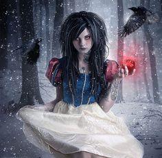 Snow White print,Snow White art,Fairytale art,Gothic Snow White,Dark fairytale art,Gothic decor,Gothic print,crows print,ravens print,forest