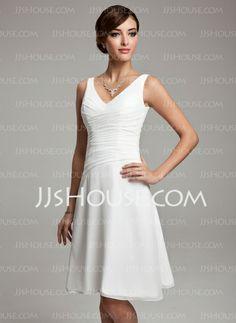 Vestidos de madrinha - Vestidos princesa/ Formato A Decote V Na altura do joelho Chiffon Vestido de madrinha com Pregueado Beading