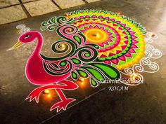Peacock Rangoli Designs for competition Rangoli Designs Peacock, Indian Rangoli Designs, Rangoli Designs Latest, Simple Rangoli Designs Images, Rangoli Patterns, Rangoli Ideas, Colorful Rangoli Designs, Beautiful Rangoli Designs, Peacock Design