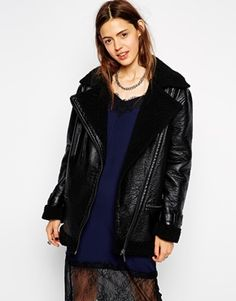 ASOS Textured Bonded Biker Jacket with Borg Collar