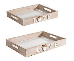Set de 2 bandejas de madera Amour
