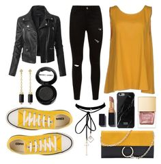 """""""Cool-Girl Style: Leather Jackets; Black and Yellow"""" by nightbolt23 on Polyvore featuring LE3NO, Manila Grace, WithChic, David Yurman, Manic Panic NYC, Converse and leatherjackets"""