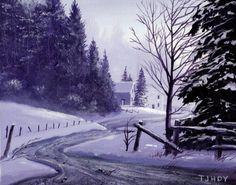 Winter Town Road 8 x 10 ORIGINAL Thomas Justin Hoy by tomasino, $60.00