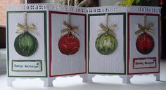 Christmas balls with stars (by niki on SCS - Screen divider card - CCC Christmas Cards To Make, Xmas Cards, Holiday Cards, Christmas Crafts, Christmas Balls, 3d Cards, Pop Up Cards, Fancy Fold Cards, Folded Cards