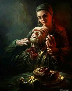 Game of thrones fanart. Arya Stark and Walder Fray