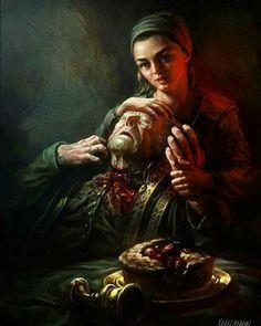 Game of thrones fanart. Arya Stark and Walder Fray