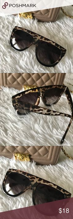 "✨New! Flat Top Ombré Leopard Sunnies If you like the Celine Shadow sunnies then you will love these flat top cuties! Get the celebrity look without the celebrity price tag! Accented with a leopard print ombré design you will achieve an insta-chic look within seconds!  Sunglasses Width .......5.9""  Bridge Width ..........0.7""  Sunglasses Height ........2.2"" Sunnies feature 100% UV400 Lens Technology. For adequate protection experts suggest that sunglasses reflect/filter out 99-100% of UVA and…"