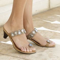 tan and metallic sandals
