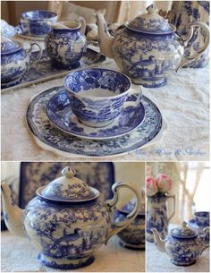 Aiken House & Gardens: Transferware and a Giveaway! Love this pheasant pattern---I think I'll focus on collecting these Flow Blue China, Blue And White China, Love Blue, White Dishes, Blue Dishes, Blue Dinnerware, Blue Plates, China Patterns, White Decor