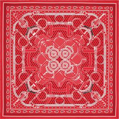 "2015 FW | Eperon d'Or | Silk twill bandana, hand rolled, 22"" x 22"" (100% silk) | Ref. : H042977S 04 Rouge/Noir/Blanc | $185.00"