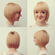 blonde stacked bob with bangs