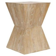 """Geometric Sungkai wood end table.Product: End tableConstruction Material: Sungkai woodColor: Distressed oakDimensions: 19.5"""" H x 14"""" W x 14"""" D"""