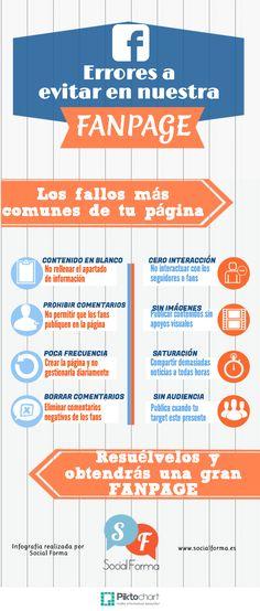 8 errores a evitar en la Fan Page de FaceBook #infografia #infographic #socialmedia