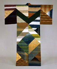 Fukumi Shimura Kimono, Patchwork of Pongee Weave Cloths, Noshime Pattern 1994