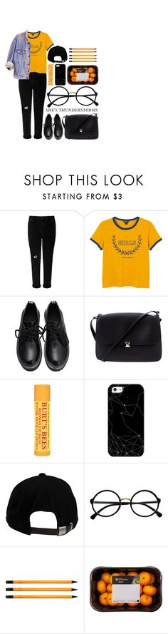 """""""kick scream fight"""" by najiwe ❤ liked on Polyvore featuring Monki, Valentino, Burt's Bees, Casetify, Brixton, Retrò, American Apparel, black, Leather and grunge"""