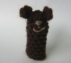 nutka_art handmade  crochet small puppet finger  by nutkaart