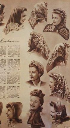 Vintage Hairstyles A selection of scarves. - How vintage scarves were worn during the and Head scarf, headband, neck scarf, skinny scarf and hairstyles. 40s Mode, Retro Mode, Mode Vintage, Vintage Style, Fashion Moda, 1940s Fashion, Vintage Fashion, Ladies Fashion, Gothic Fashion