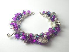 Purple Teal Alice in Wonderland Charm Bracelet by BitsAndBojangles