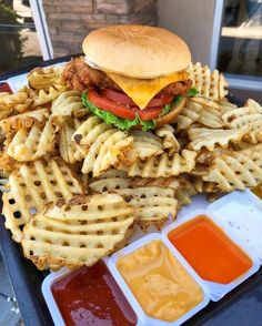 """Here's a mountain you will want to climb, a tasty pile of Criss Cut Waffle Fries 🍟🍟 from Chick-fil-A. Sleepover Food, Junk Food Snacks, Delicious Burgers, Tasty Burger, Food Goals, Aesthetic Food, Food Cravings, I Love Food, Soul Food"