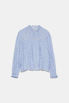 High collar shirt with long sleeves with ruffled elastic cuffs. front closure with lined buttons. High Collar Shirts, Zara Home Stores, Zara Women, Covered Buttons, Mannequin, Printed Shirts, Lace Trim, Ruffle Blouse, Long Sleeve