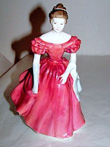 """Royal Doulton - Winsome - HN2220 - Lady Figurine in Red Dress 8"""" - No Box"""