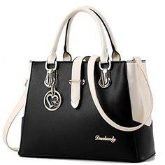 66f938c93bd95 BestoU Damen Handtaschen Schwarz groß taschen Leder moderne damen  handtasche gross schultertasche Frauen Umhängetasche (Schwarz