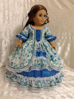 RESERVED 1850's Blue Floral Ball Gown for by DollSizeDesigns