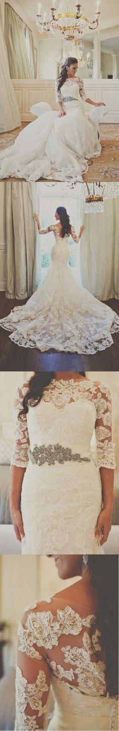 chic modern vintage bateau neckline long trumpet/mermaid lace wedding dress with ribbon