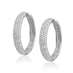 Silver Tone 5 Row Inside Out Cubic Zirconia Pave Wide Hoop Earrings