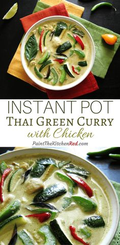 Instant Pot Thai Green Curry is one of the easiest and tastiest curries you'll ever make. This spicy curry will rival your favorite Thai takeout green curry and can be ready in less than 20 minutes. From Paint the Kitchen Red Healthy Recipes, Asian Recipes, Cooking Recipes, Thai Curry Recipes, Thai Basil Recipes, Cooking Bacon, Cooking Turkey, Healthy Breakfasts, Best Instant Pot Recipe
