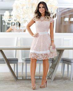 Very sweet short lace dress Cute Dresses, Vintage Dresses, Casual Dresses, Kohls Dresses, Dresses Dresses, Short Lace Dress, Short Dresses, Modest Fashion, Fashion Dresses