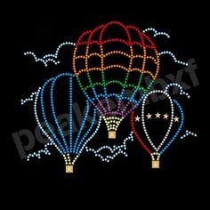 Hot Air Balloon Rhinestone Heat Transfer Designs