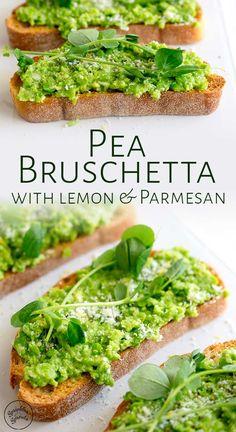 These simple Pea Bruschetta (pea crostini) make the most wonderful fresh easy ap. These simple Pea Bruschetta (pea crostini) make the most wonderful fresh easy appetizer. The ciabat Pea Shoot Recipe, Bruschetta Recept, Crostini, Canapes, Ciabatta, Appetizer Recipes, Light Appetizers, Sprinkles, Fresh