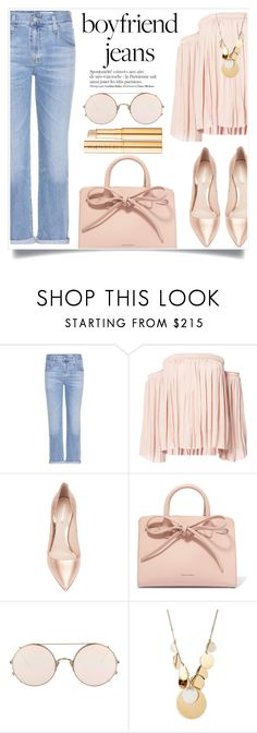 """Please follow me on Insta!! @queensmarket"" by alaria ❤ liked on Polyvore featuring AG Adriano Goldschmied, Elizabeth and James, Nicholas Kirkwood, Mansur Gavriel, Sunday Somewhere and Wander Beauty"