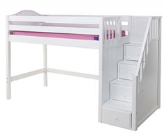 Maxtrix GALANT medium height loft bed with stairs in natural white or chestnut finish