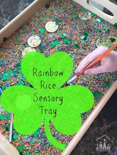 Practice pre-writing skills in our Rainbow Rice Sensory Tray. Stimulate your pre-schoolers sense of touch, sight and sound, as they work they work on strengthening their fine motor skills in this sensory based learning activity.