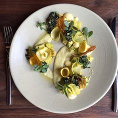 Roasted and pickled summer squash...pretty little spring dish! Photo cred: @chefevanallumbaugh #spring #flourandwater @ctmcnaughton