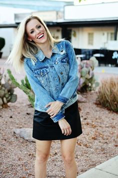 131fccb4 Destructed denim jacket with studs and stars and faux leather mini dress  Leather Mini Dress,