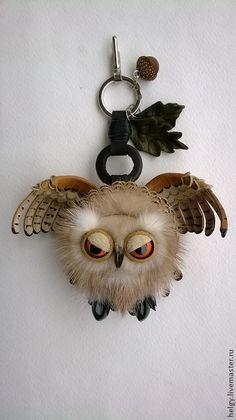 """Купить Брелок на сумку """"Ушастая сова"""" - коричневый, звериная расцветка, сова, совенок, брелок на сумку"""