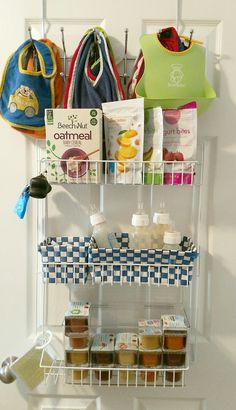 DIY Baby Organization- Pantry Closet- Bibs, Baby food, Bottles, Snacks