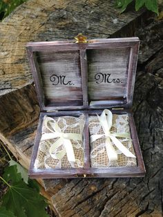 Personalized Ring Bearer Box Rustic Wedding Ring by MoreThanLace